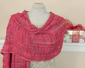 Salsa Fever Knit Shawl - Dropped Stitch, Oversized Scarf or Knit Shawl in Picante Colors - Item 1416