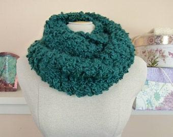 Chunky Infinity Scarf, Warm Hand Knit Vegan Cowl in Emerald Green  - Item 1366