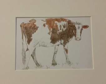 Matted Art Cow Print   'Charlotte' the Dairy Cow
