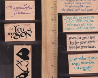 Rubber stamps - set of 10 stamps gently used -  sentiments, greetings, holidays, occasions, DIY greeting cards