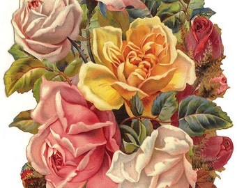 Victorian Roses Scrap Made In Germany Large Lithograph Die Cut   5179