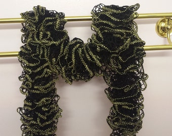 """Black with Gold Accents Ruffle Sashay Scarf - Approximately 53"""" long"""