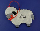 0026 Lamb/Sheep shape. Free shipping. Message shown is a suggestion. Ornaments can be written with a message/name/date of your choice.