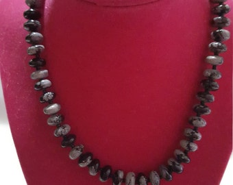 The Echo Necklace Snowflake Obsidian Beaded Necklace Otis P. Black & Gray