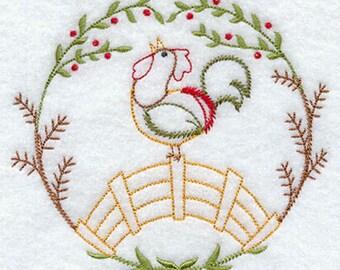 Rooster Crowing Chicken Embroidered Towel Vintage Look Flour Sack Kitchen Tea Towel