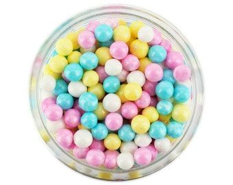 Pearly Spring Mix Sugar Pearls - edible shimmer pretty pastel rainbow pink, yellow, blue, and white sugar pearl sprinkles