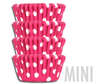 Mini Bright Pink Polka Dot Baking Cups - mini hot pink polka dot cupcake liners