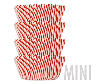 Mini Red Candy Stripe Baking Cups - red striped cupcake liners, cupcake papers