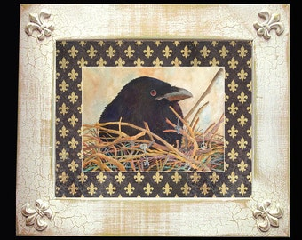 """Crow Fleur de Lis Art Framed Distressed/Matted """"Crow's Nest"""" Signed and Numbered"""