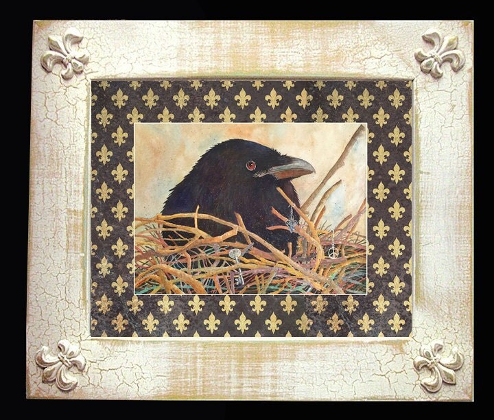 Crow Fleur De Lis Art Framed Distressed Matted