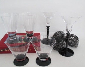 Cocktail Glasses Vintage Art Deco Clear and Black Glass Drinks For Two Barware Date Night