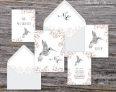 Secret Garden Wedding Invitation (Hummingbird, Pink Cherry Blossoms with Your Pick of Envelopes) - Park Collection Sample