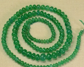 3.3mm-6.8mm EYE-CLEAN Zambian EMERALD Smooth Rondelle Beads 19.25 inch Strand