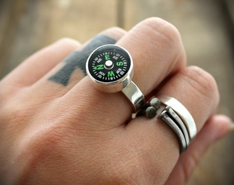 Sterling Compass Ring - MADE TO ORDER
