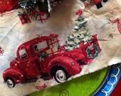Retro Style Christmas - Old Fashion  Distressed Christmas Trim - - Christmas Truck - Christmas Wreath & Tree