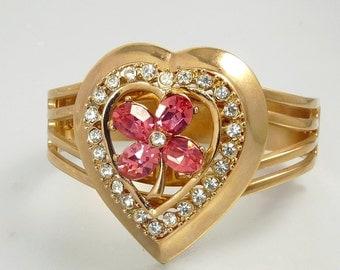Vintage  Sweetheart Cuff Bracelet Rhinestone Heart Anthony Originals