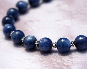 AAA Kyanite and Bali Silver Necklace