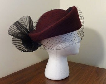 Vintage, Wool, Pill-box Style Hat, with Black netting and Bow Trim