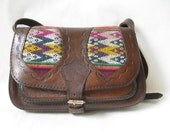 Vintage 70's Brown Tooled  Leather and Tapestry Purse.