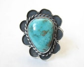 Vintage Old Pawn Large Turquoise and Sterling Ring. Size  10