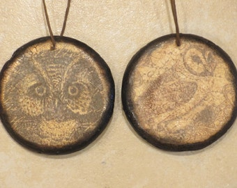 Paper mache Set of 2 Halloween Owl Ornaments