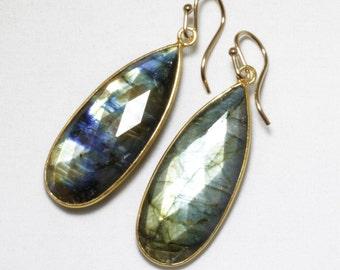 Real Labradorite Earrings Labradorite Gemstone Earrings Genuine Rare Stone Earrings 14k Gold Bezel Earrings BZ-E-139-Lab/g