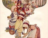 PRINT SALE 20% OFF Vintage 1930's Picking Wild Flowers by Lillian Govey Illustration Bookplate Print for Framing, Little Girls