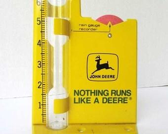 Vintage 1960's  John Deere Yellow Enamel Rain Gauge for your Window Sill, Advertising Gauge, John Deer Logo, Farm Machinery Promo Item