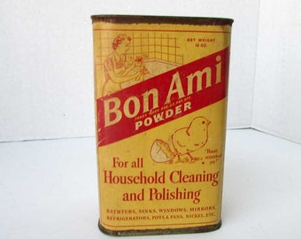 Vintage 1930's Bon Ami Household Cleaning, Polishing Advertising Box w Bon Ami Chick, Laundry Room,  Bath Decor, Red and Yellow