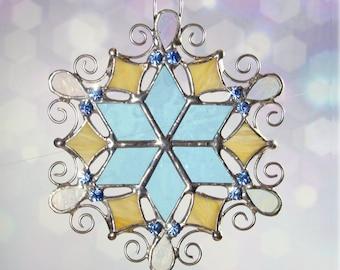 Fancy Filigree and Rhinestone Topaz Snowflake Ornament Suncatcher