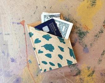 mini wallet • small credit card wallet • business card holder - leather blend - teal leaf print - gifts under 20 - slim wallet • native