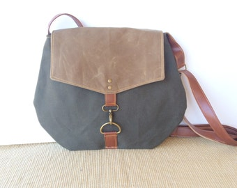 satchel • waxed canvas crossbody bag • industrial dark olive canvas - light brown waxed canvas - travel bag - cross body • scout