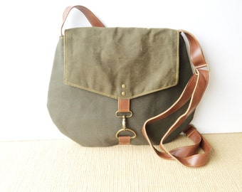 satchel • waxed canvas and leather crossbody bag • industrial dark olive canvas - olive green waxed canvas - travel bag - cross body • scout