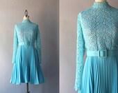 1960s Dress / Vintage 60s Illusion Lace Dress / Blue Pleated Sixties Dress