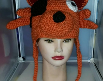 Crochet Earflap Beanie, Fox Hat, Eye Patch, Cosplay, Made to Order