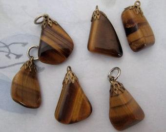 6 pcs. tigers eye tumbled agate rocks with vintage filigree cap pendants lot