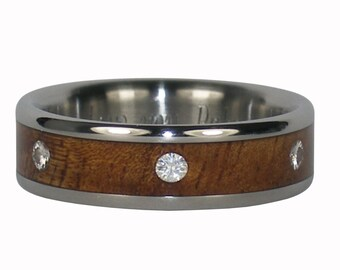 Six Diamond Titanium Ring with Koa Wood