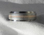 Titanium Ring with Rose Gold Inlay,  Wedding Band, AX83