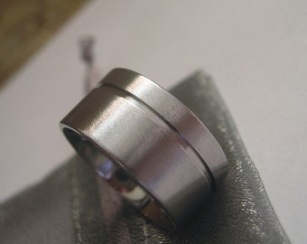 Wide Widths Titanium Ring or Wedding Band, Cut Groove Ring