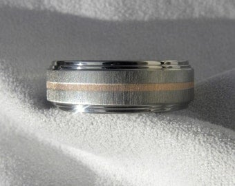 Titanium Ring with Rose Gold Inlay,  Wedding Band, AX83