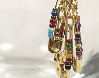 Multicoloured Safety Pin Earrings - Gold Beaded Drop Earrings - Boho Upcycled Jewelry