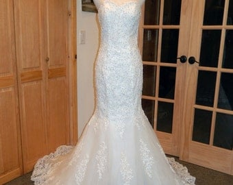 Miranda-Strapless Lace Pearl and Sequin Trumpet Styled Wedding dress- Sweetheart neckline-OOAK-CRBoggs Original