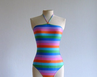 Vintage One Piece Rainbow Swimsuit Deadstock