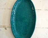 Teal Platter in PATCHWORK pattern - small oval platter - Wobbly Plates Series