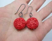Red Carved Flower Faux Cinnabar Beads on Oxidized Sterling Silver Handmade Ear Wires Dark Silver Flamenco Day of the Dead Asian Inspired