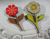 Pair of Flower Brooches Happy Floral Pins Peace and Joy Book Bag Coat Lapel Pins