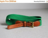 VALENTINES DAY SALE vintage Dooney & Bourke green fabric and leather belt w/ solid brass buckle