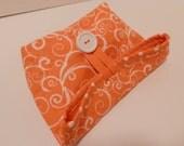 Small Foldover Bag/ Orange and White