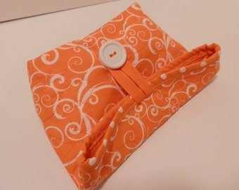 Small Foldover Bag/ Orange and White