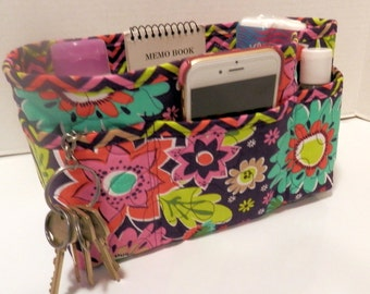 "Purse Organizer Insert/Enclosed Bottom  4"" Depth/ Purple Floral"